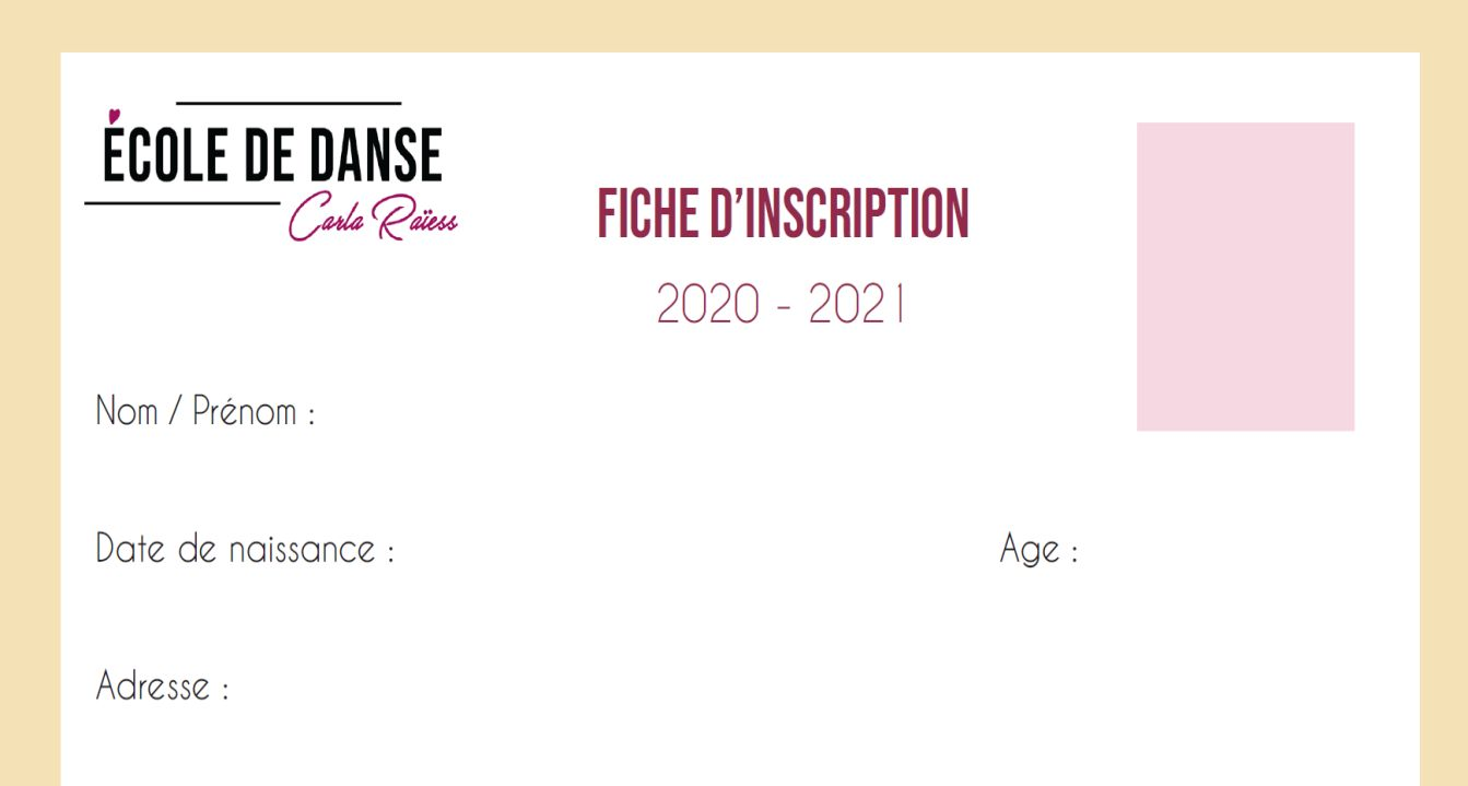 fiche d'inscription ecole de danse carla raiess