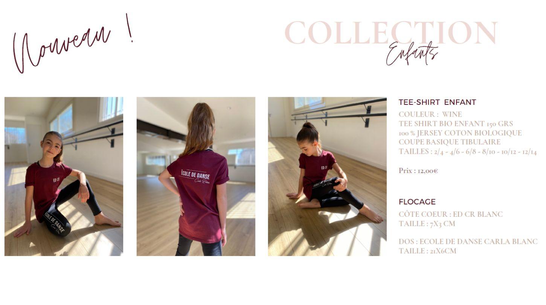 collection vêtements enfants de danse ecole carla raiess ollioules